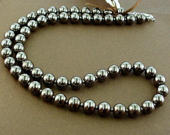 simple hematite necklace -black gray necklace-8mm beaded necklace -gray hematite gem stone necklace -hematite jewelry -11th anniversary gift