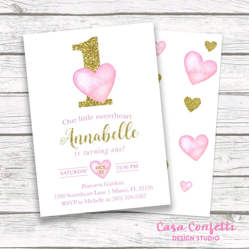 Valentines day birthday invitation heart birthday invitation pink valentines day birthday invitation heart birthday invitation pink and gold first birthday girl watercolor hearts printable invite stopboris Images