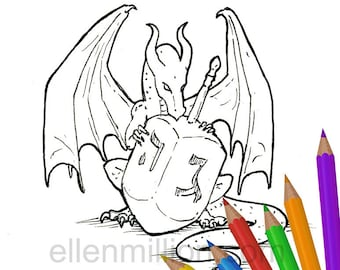 Dreidel Dragon Happy Hanukkah Digi Stamp Digital Coloring Page for adults - for scrapbooking or cards or coloring