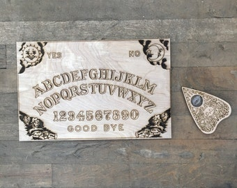 "Ouija Board - Wood Burned - 18""x12"" - Handmade"