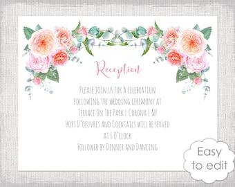 "Reception invitation template DIY printable wedding reception invite ""Rose Garland"" pink digital editable invitations YOU edit Word download"