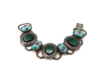 Vintage Green Glass Bracelet with Pink Roses