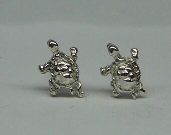 TURTLE STUD Earrings Sterling Silver Free Shipping