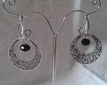 hoop earrings silver and black