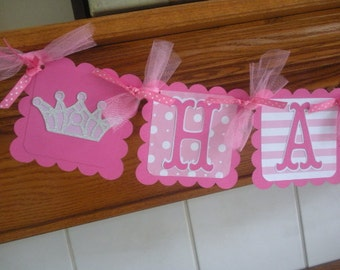 Princess and Pirate Birthday Banner, Crowns and Pirate Banner, Birthday Banner, Pink Glitter Crown, Girl Pirate Banner