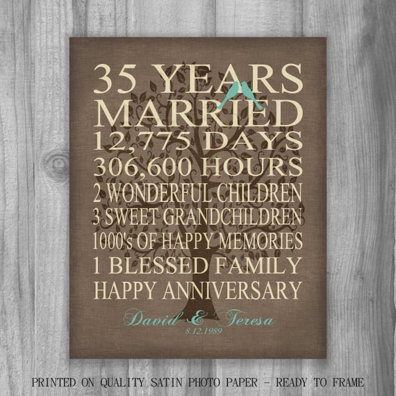 35 Year Wedding Anniversary Gifts: 35th Year Anniversary Gift Rustic Burlap Look Personalized