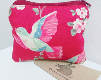 Handmade Humming Bird Coin Purse, British Birds, Floral Garden Bird Coin Pouch