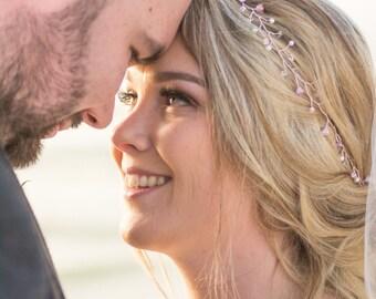 pastel hair vine, lilac, blush pink, custom colours, swarovski crystal, rose gold, wedding flower garland, summer bride, chic,  green, blue