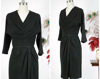 Vintage 1950s Dress - Rare Dorothy O'Hara Late 50s Asymmetrically Draped Cocktail Dress From Incredible Collection