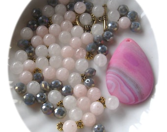 Agate Pendant, Snow Quartz, Pink Jade, Bead combo, DIY Jewelry Kit, Bead Kit, Jewelry Making Beads, Necklace Design, Pink White Gray