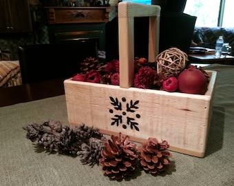 HOLIDAY SALE...Free Shipping...Winter Basket...Wood Basket...Rustic Wood Basket...Reclaim wood Basket...Card Basket