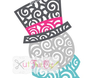 EXCLUSIVE Swirly Scroll Snowman  SVG & DXF File