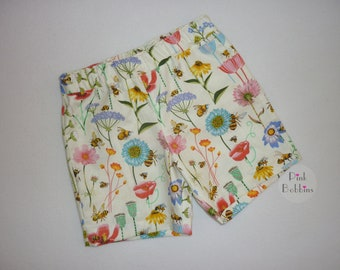 Bee shorts - floral shorts - summer shorts - girly shorts - bee outfit - girls clothing - handmade outfit - spring flowers - 6m to 12yrs