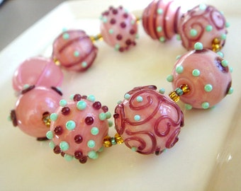 SRA Lampwork Beads, Pink and Green Beads, Destash Lampwork Glass Beads - 22 beads