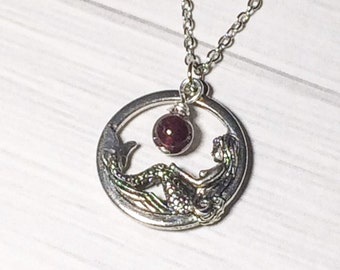 Garnet Stone Mermaid Necklace January Birthstone Stocking Stuffer Christmas Gifts Bridesmaid