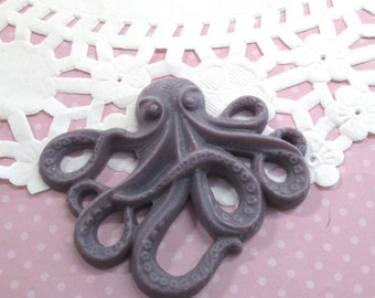 2 Purple Octopus Cabochons 64x52mm Nautical Cabochons