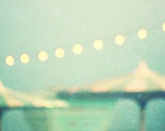 photography, mid century modern, santa cruz, cafe lights, vintage beach, mint, aqua, beach photography - dusk, photograph print