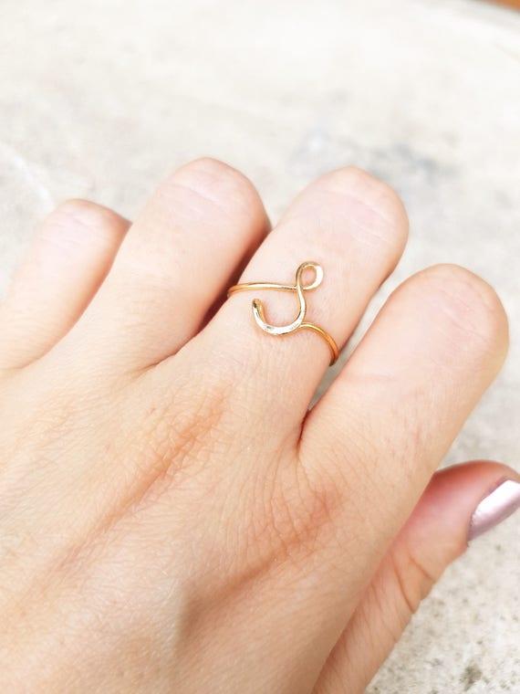 22 k Rose Gold erste Ring Buchstabe S Ring Draht erste Ring