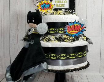 Batman Diaper Cake| Dark Knight Diaper Cake| Boys Diaper Cake| Batman Baby Shower Centerpiece| Super Hero Baby Gift| Super Hero Diaper Cake