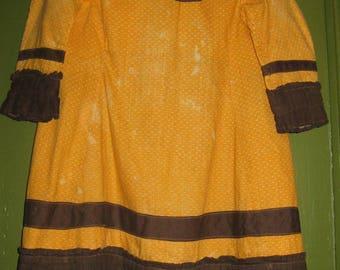 Wonderful Antique Toddler Boy's Dress in Orange and Black, 1870's