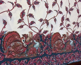 Vintage  Thanksgiving Turkey and Chickens Table Cloth large rectangular 90 x 57