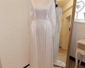 White Soft Liquid Satin wedding dress, 1960s wedding dress, 60s Vintage Wedding Dress, Long Sleeve wedding dress, train Sixties UK 12