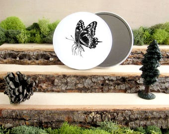 """Butterfly Pocket Mirror - Beautiful Butterfly - Winged beauty - Animal Pocket Mirror 3.5"""" - Make up Bag - Make Up Mirror"""