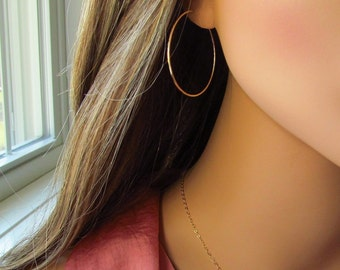 "Hammered Gold Hoops, Medium 1.5"" Gold Hoops, Hammered Hoop Earrings, 14kt Gold Filled Hoops, 1.5"" Hoops, Hammered Metal, Hammered Hoops"