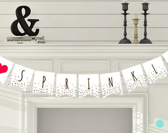 Sprinkled with Love Bunting, Confetti Baby Shower Decorations, Baby Sprinkle Banner, Baby Shower Decorations TLC108