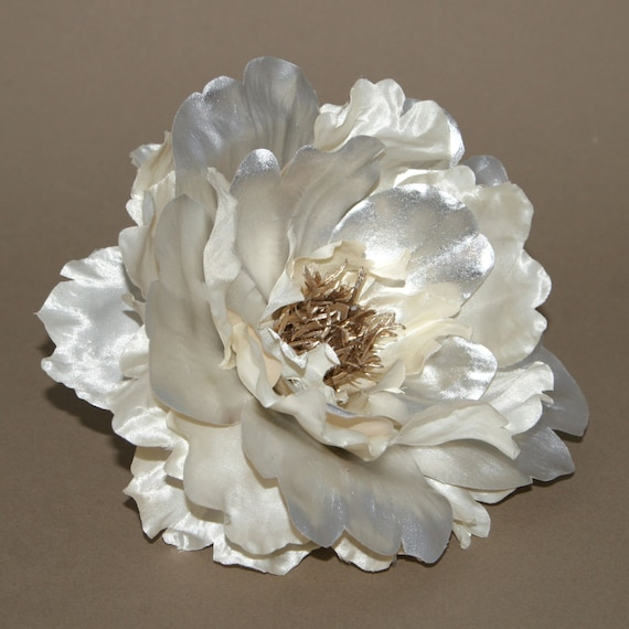 Metallic cream and silver peony boutique silk flowers artificial metallic cream and silver peony boutique silk flowers artificial flower heads pre order from silkinspirations on etsy studio mightylinksfo