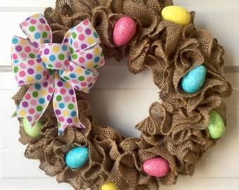 Burlap Easter Egg wreath