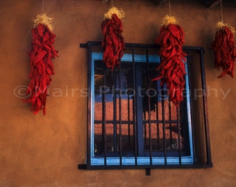 Red Chili Ristra Blue Architecture Adobe Albuquerque, Old Town, Travel Photography, Fine Art Photography matted & signed original photograph