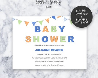 Blue Baby Shower Invitation   INSTANT DOWNLOAD   Editable PDF  Do It Yourself   Printable