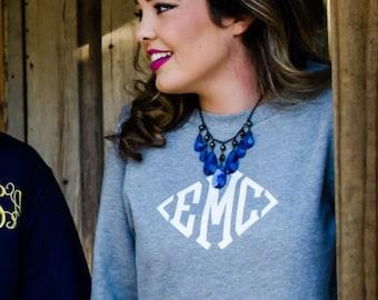 Monogrammed Scoop Neck Long Crewneck Sweatshirt