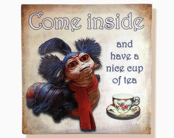 """Labyrinth worm, """"Come inside and have a nice cup of tea"""", handmade 8""""x8"""" wooden wall art"""