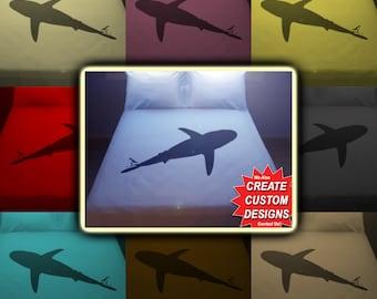 Ocean Decor Shark Bedding Duvet Cover Queen King Twin Size, Queen Bedding, King Bedding Twin, Kids Queen Duvet Cover, Linen Cotton Sheet Set