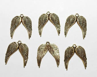 Six Angel Wing Pendants or Charms in Gold  Tone