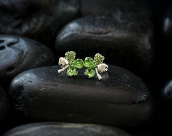 Lucky 4 Leaf Clover Swarovski crystal earrings in Peridot set in a Rhodium finish