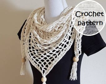 Crochet pattern boho shawl // triangle shawl pattern // summer shawl // lace crochet shawl // fringle shawl // ibiza / tutorial shawl //
