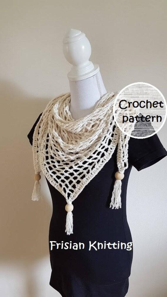 Crochet Pattern Boho Shawl Triangle Shawl Pattern Summer Shawl