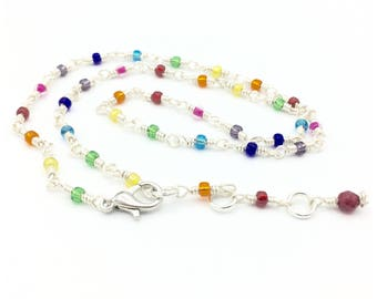 Delicate rainbow rosary choker necklace-colourful beaded bracelet-minimalistic jewelry set-silver plated wire-gift for her-valentine gift
