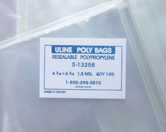 """100 count 4 3⁄4 x 6 3⁄4"""" RESEALABLE POLY BAGS (S-13258), Medium, fits A6 card or 4x6 photos"""