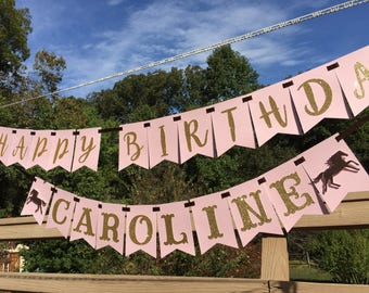 Horse Party Banner, Girl Glitter Horse Happy Birthday Decoration Supplies, Equestrian Party Decor Photo Prop, Pink and Gold Glitter Name