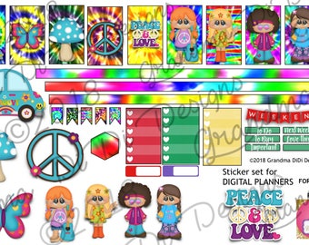 GoodNotes sticker book and digital planner sticker set, Peace and Love, Flower Children, Flower Power60s, psychedelic