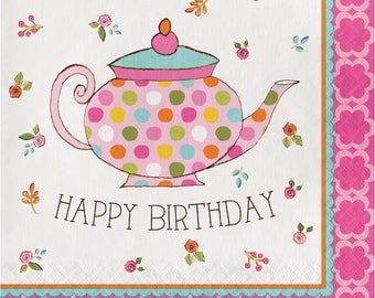 Tea Time Lunch Napkins [16ct] Birthday Tea Party Tableware Supplies