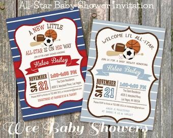 Sports Baby Shower Invitation, Little All-Star Baby Shower