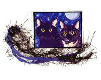 Black Cat Bookmark Tortiseshell Cat Bookmarker Tortie Cat Art Moon Stars Whimsical Cat Art Mini Bookmark Cat Lover Gift