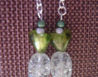 pair of green glass heart earrings