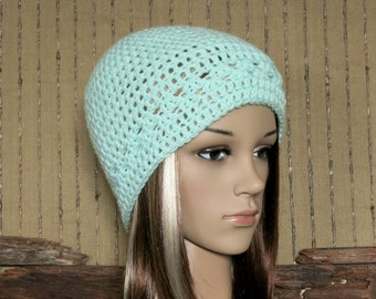 Womens Crochet Hat, Mint Green Beanie, Wool Winter Hat, Student Beanie, Australia Nchanted Gifts