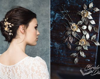 1pc Bridal hair pin, Bridal Hair pins, gold hair pins with leaves and flower